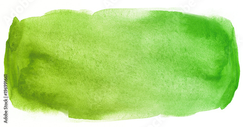 Leinwandbild Motiv Watercolor texture stain green with water color blots and wet paint
