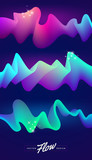 Set of vector abstract design elements. Multicolored flow elements. Colorful waves on a dark background. - 196991828