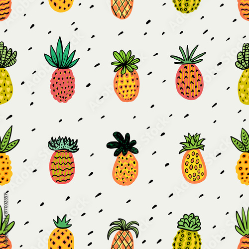 Fototapeta Seamless sunny pineapple pattern. Decorative Pinapple with different textures in warm colors. Exotic fruits background For Fashion print textile fabric covers wallpapers wrap Vector Summer background