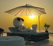 Dachterrasse mit Sonnenliege bei Sonnenuntergang