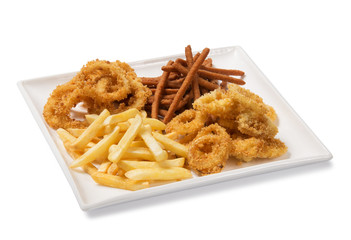 breaded squid rings and french fries on white background