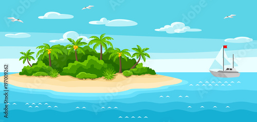 Keuken foto achterwand Turkoois Illustration of tropical island in ocean. Landscape with ocean, palm trees and yacht. Travel background