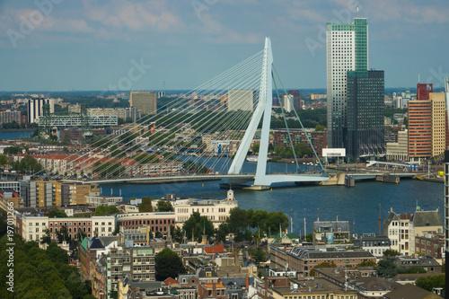 Canvas Rotterdam Vue aérienne - Pont Erasmus - Ville de Rotterdam - Pays-bas