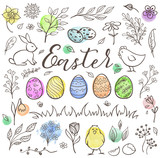 Hand drawn Easter doodle elements