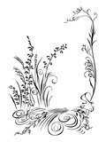 Calligraphy grass, flowers, plans black silhouette - 197011687