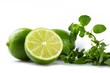 Fresh Limes with Leaves of Mint