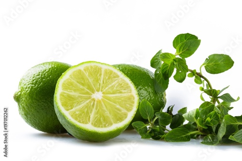 Fresh Limes with Leaves of Mint - 197012262
