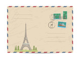 Eiffel Tower in Paris, France. Vintage postal envelope with famous architectural composition, postage stamps and postmarks on white background vector illustration. Airmail postal services.