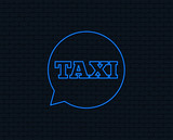 Neon light. Taxi speech bubble sign icon. Public transport symbol Glowing graphic design. Brick wall. Vector - 197014663