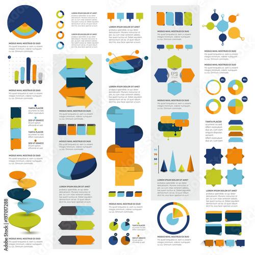 Mega set of infographics elements charts, graphs, circle charts, diagrams, speech bubbles. Flat and 3D design. Vector. - 197017288