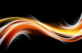 Orange yellow blurred glowing waves design. - 197017459