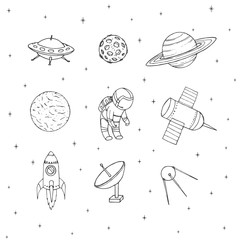 Hand drawn vector space elements outline: cosmonaut, satellites, rocket, planets, moon and UFO. Cosmos set isolated on the white background.