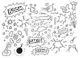 Hand drawn comic doodles - 197025829
