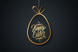 Easter celebrate banner with golden easter egg and handwritten holiday wishes of a Happy Easter on black background. Vector illustration.