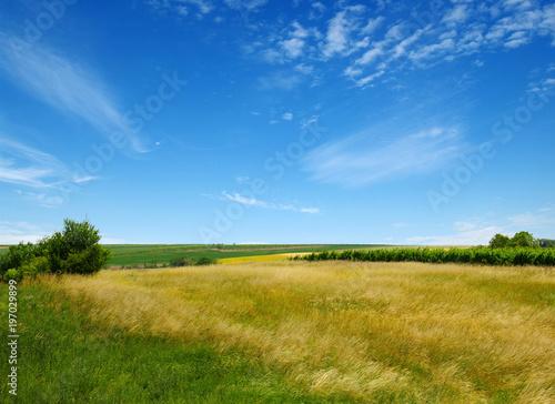 In de dag Blauwe jeans Mountain landscape on sun