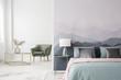 Large bed by landscape wallpaper - 197033630