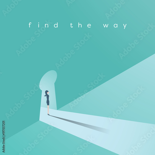 Businesswoman Standing In A Keyhole Vector Concept Symbol Of