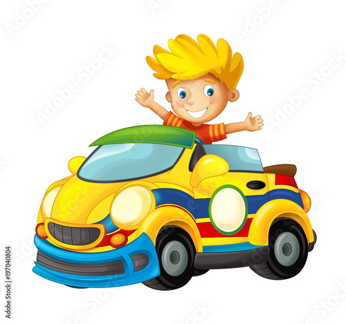 cartoon scene with child in toy sports car on white background - illustration for children - 197040804