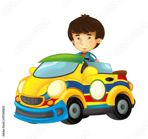 cartoon scene with child in toy sports car on white background - illustration for children - 197040835