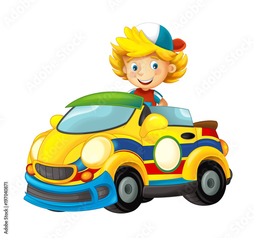 cartoon scene with child in toy sports car on white background - illustration for children - 197040871