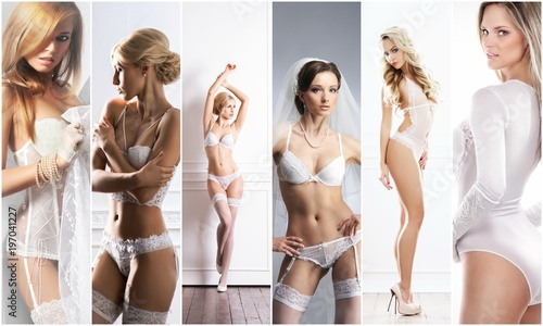 Young, sexy and beautiful woman in lingerie. Fashion model posing in sexy underwear. Spring concept collage. - 197041227
