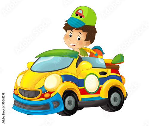 cartoon scene with child in toy sports car on white background - illustration for children - 197044298