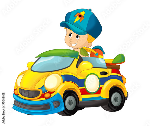 cartoon scene with child in toy sports car on white background - illustration for children - 197044403