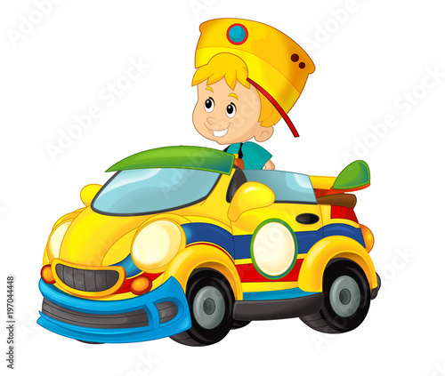 cartoon scene with child in toy sports car on white background - illustration for children - 197044448