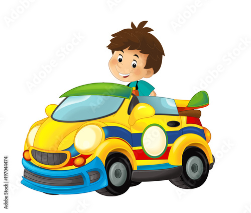cartoon scene with child in toy sports car on white background - illustration for children - 197044474