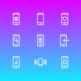 Vector illustration of 9 phone icons line style. Editable set of upload, forbidden, gadget and other icon elements. - 197046217