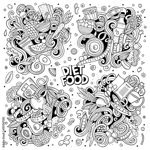 Vector doodles cartoon set of Diet food combinations of objects and elements - 197047015