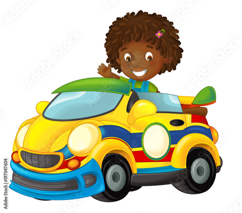 Cartoon scene with girl in sports car smiling and looking - illustration for children - 197047604