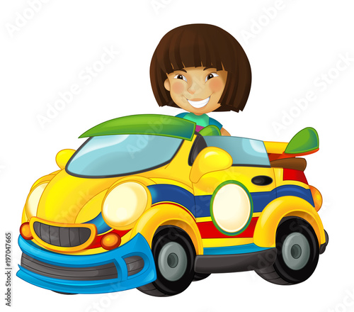 Cartoon scene with girl in sports car smiling and looking - illustration for children - 197047665