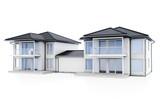 3d modern duplex houses on white background 3D illustration - 197050679