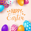 Easter background with spring flowers and eggs. Vector illustration - 197051069