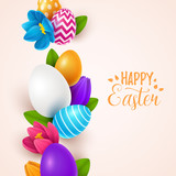 Easter background with spring flowers and eggs. Vector illustration - 197051266