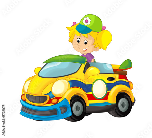 Cartoon scene with girl in sports car smiling and looking - illustration for children - 197051677
