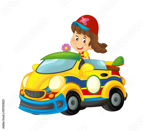 Cartoon scene with girl in sports car smiling and looking - illustration for children - 197051825