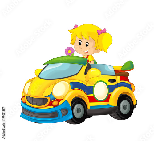 Cartoon scene with girl in sports car smiling and looking - illustration for children - 197051887