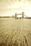 View of Tower Bridge in London with vintage tone effect. - 197054438