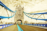 View of Tower Bridge in London with isolated color effect.
