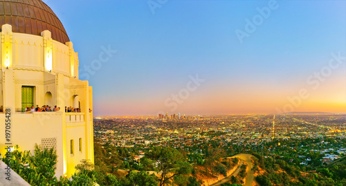 View of Griffith Observatory and city center of Los Angeles at sunset.