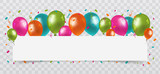 Fototapety Colourful Balloons with confetti and streamers white Paper free Space. Transparent background. Birthday, Party and Carnival Vector.