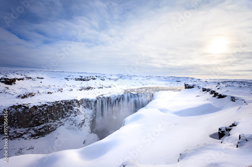 Famous waterfall in Iceland in winter - 197056436