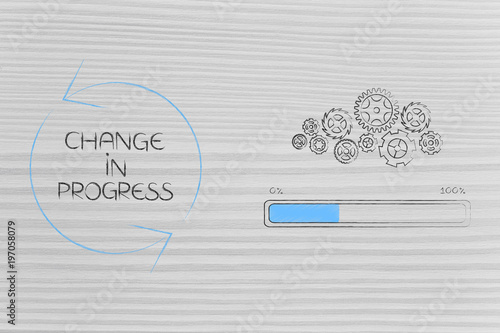 change in progress gearwheel mechanism with progress bar next to caption