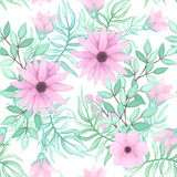 Vector Seamless Pattern of Floral Bouquets - 197058292