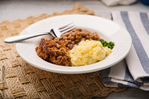 Pulled pork, beans and potato salad in a white bowl - 197060200