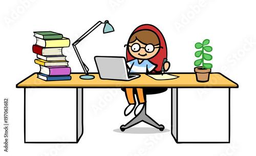 Kind beim Lernen am Laptop Computer - 197063682