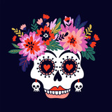 Woman skull with the wreath of flowers. Vector holiday illustration for Day of the dead or Halloween. Funny card design. - 197072866