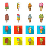Ice cream on a stick, in a waffle cone and other species. Ice cream set collection icons in cartoon,flat style vector symbol stock illustration web.